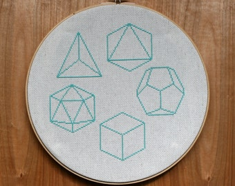 The Five Platonic Solids Geometric Cross-Stitch Pattern PDF - Instant Download