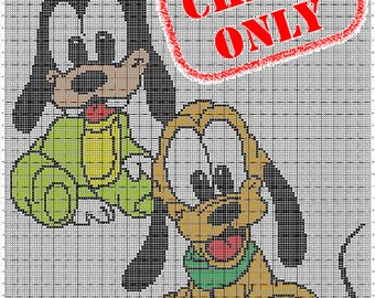 CHART ONLY! Disney Babies Goofy Pluto Color Chart for Cross Stitch, Crochet, Knitting