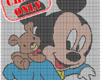 CHART ONLY! Disney Babies Mickey Bear Color Chart for Cross Stitch, Crochet, Knitting