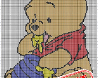 CHART ONLY! Disney Baby Pooh Bear Honey Color Chart for Cross Stitch, Crochet, Knitting