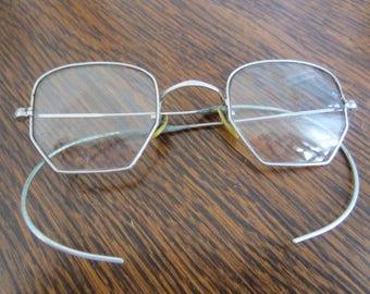 52f7e16d39d9 Vintage Antique Wire Rimmed Eyeglasses With Case  Silver Colored Frame   Celluloid Nose Pads  Decorative Frame  Spectacles  Vintage Decor