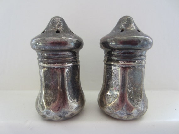 Vintage Antique Sterling Silver Salt And Pepper Shakers Etsy