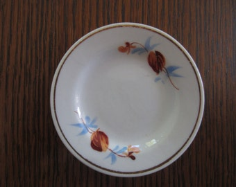 Vintage Flowered Butter Pat - Blue and Brown Butter Pat - Small Dish