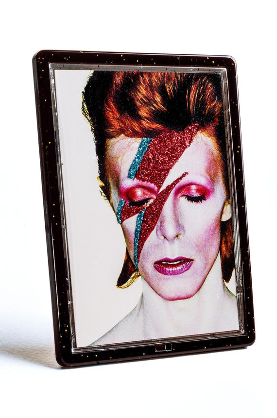 DAVID BOWIE Ziggy Stardust Glittered Magnet and Photo Easel Frame Custom  Made Glitter