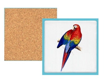 Red and yellow maccaw coaster