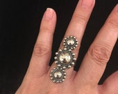 Beautiful Vintage Fred Harvey Sterling Triple Satellite Ring Circa 1930 39 s