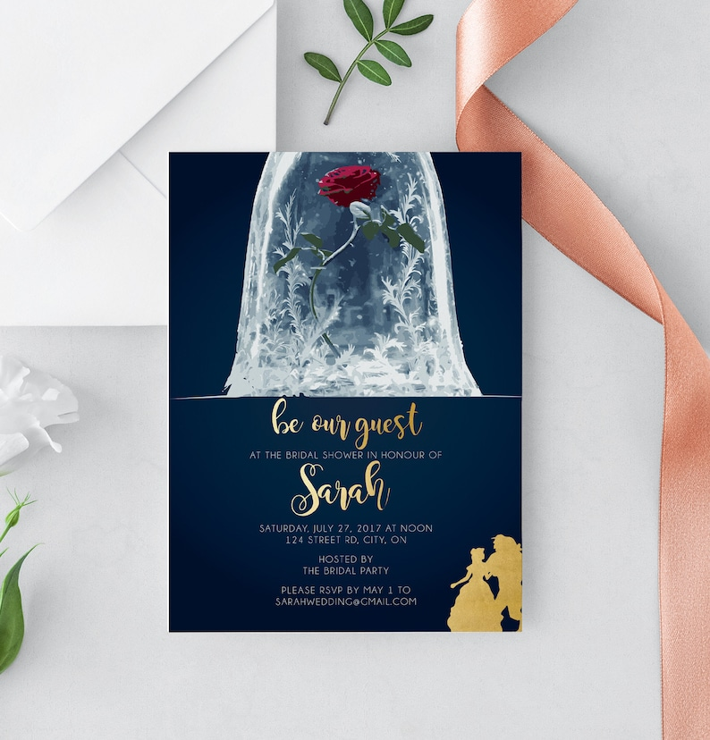 Beauty & The Beast Bridal Shower Invitation  Be our guest image 0