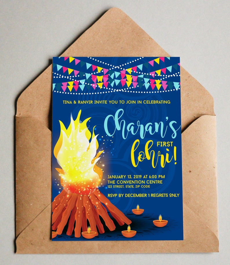 Lohri Invitation His & Hers in Navy and Pink backgrounds image 0
