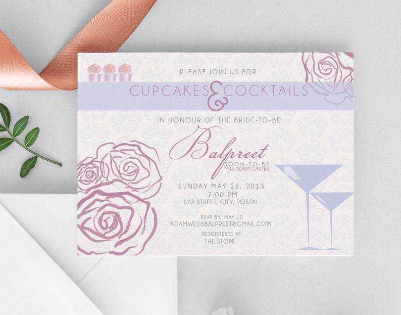 Bridal Shower Printable Invitation Cupcakes & Cocktails image 0