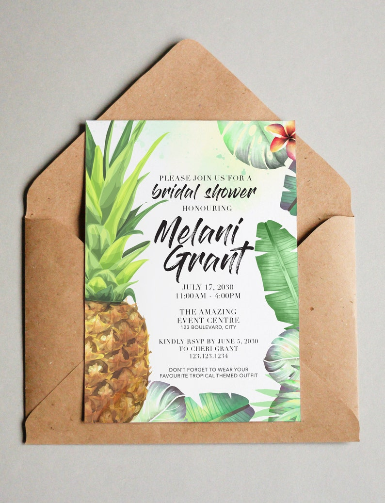 Tropical Pineapple Bridal Shower Invitation image 0