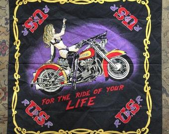 Vintage 80s Bandana 1980s Stripper bar Harley metalhead biker American vintage bad bones
