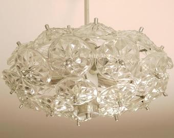 GDR Dandelion, vintage chandelier glass prisms, 60s 70s, Stejnar