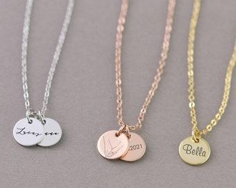 Personalisierte Kette • Initiale Halskett • Plättchen Kette • Namen Kette • Hochzeit • Namenskette • Familien Kette MK001
