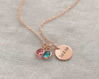 925 silver personalized necklace with birthstone • gift for birth • necklace with engraving • family chain • name chain • GK019