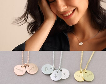 925s Personalized necklace with two discs,engraved necklace in silver, gold and rose gold, for her • GK001