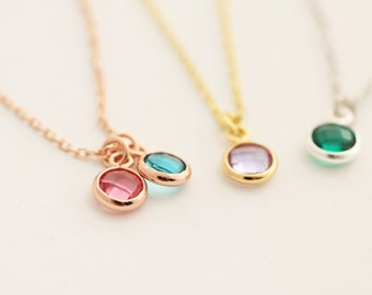 925 Silver Necklace with Birthstone • Birthstone Necklace • Silver • Gold • Rósegold • Family Chain • k526