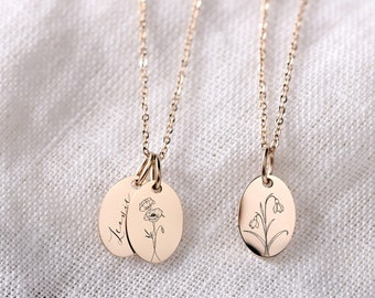 Birth Flowers Necklace • Personalized Engraving • Floral Necklace • Oval Platelet • Name Chain • Gift for Her • MK003*