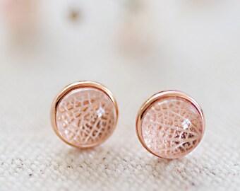 Echte Hortensie Ohrringe - 925 Silber Ohrringe - Blumen Ohrringe - 925 rose vergoldetes Silber - echte Blumen Ohrringe  e368