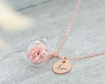 925 silber Halskette mit echten Schleierkraut - Wunschgravur Kette - Personalisierte Kette · Geschenke für Frauen · k523