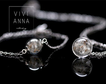 Mini silver set with dandelion - set023