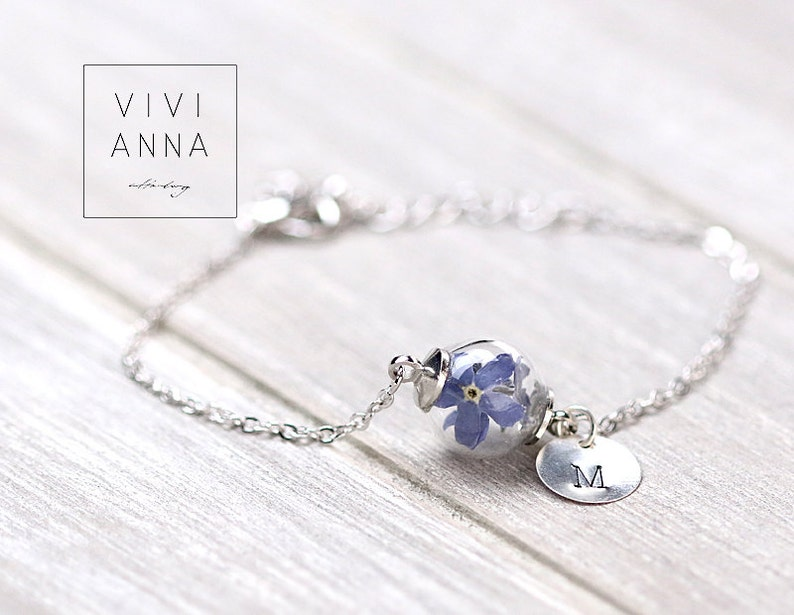 Personalized bracelet with real forget me not custom  silver plated