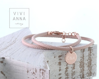 Nappa Leather Wrap Bracelet with engraving disc ·Wrap Boho Bracelet Leather • personalized bracelets for women • Personalized Gift - A121