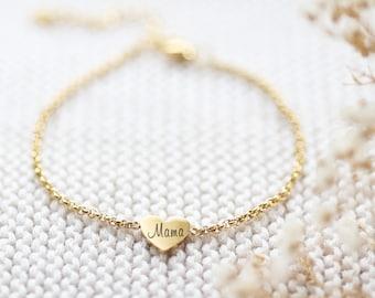 Personalisiertes Herz Armband - Herz Armkette -  Edelstahl - Silber, Gold oder Rosé Gold - a176