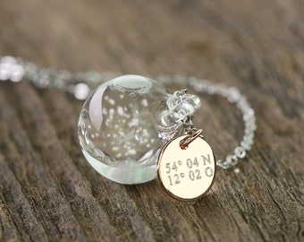 Snowglobe chain + Engraving · Personalized necklace · Gift for her ·  k385
