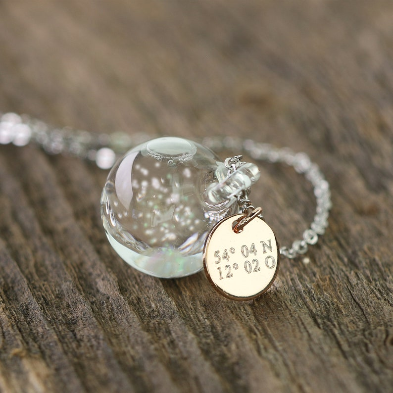 Snowglobe chain  Engraving  Personalized necklace  Gift for image 0