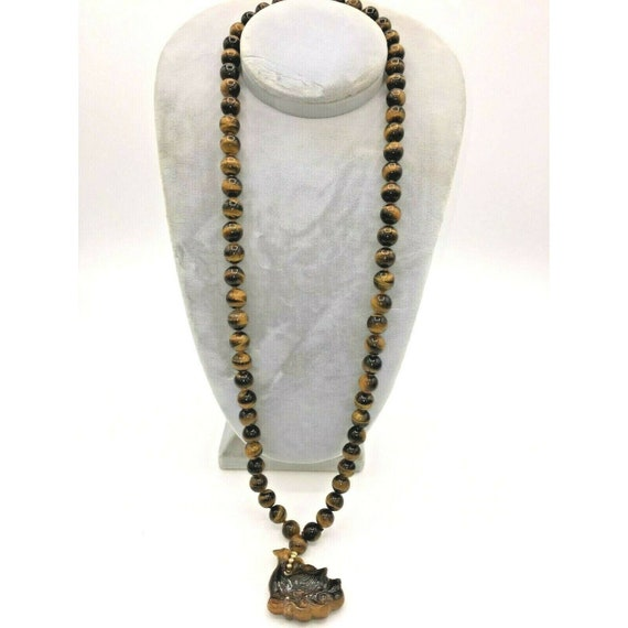 Tiger Eye 15 1/2 Inch 10mm Necklace with Carved Ti