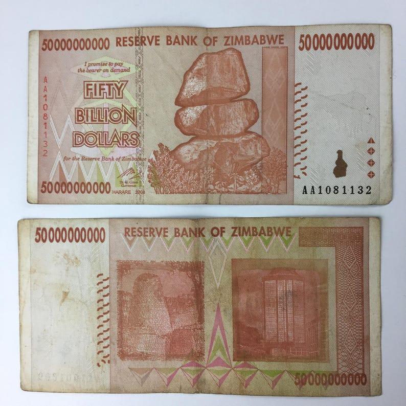 50 billion zimbabwe dollars note 50000000000 original gift