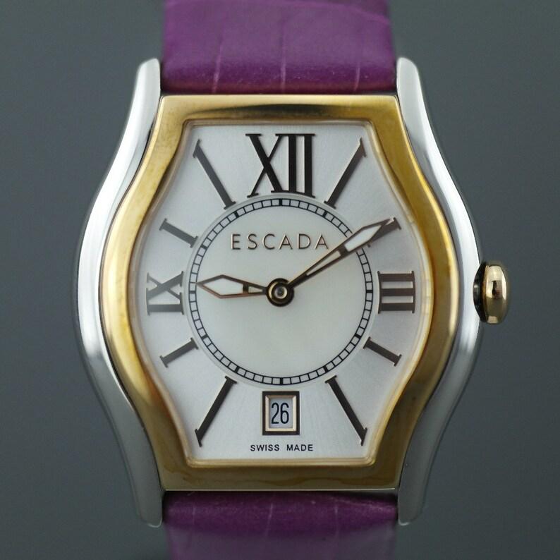 d1adbfd70e40 Escada Grace two-tone Swiss watch Croc-embossed purple strap | Etsy