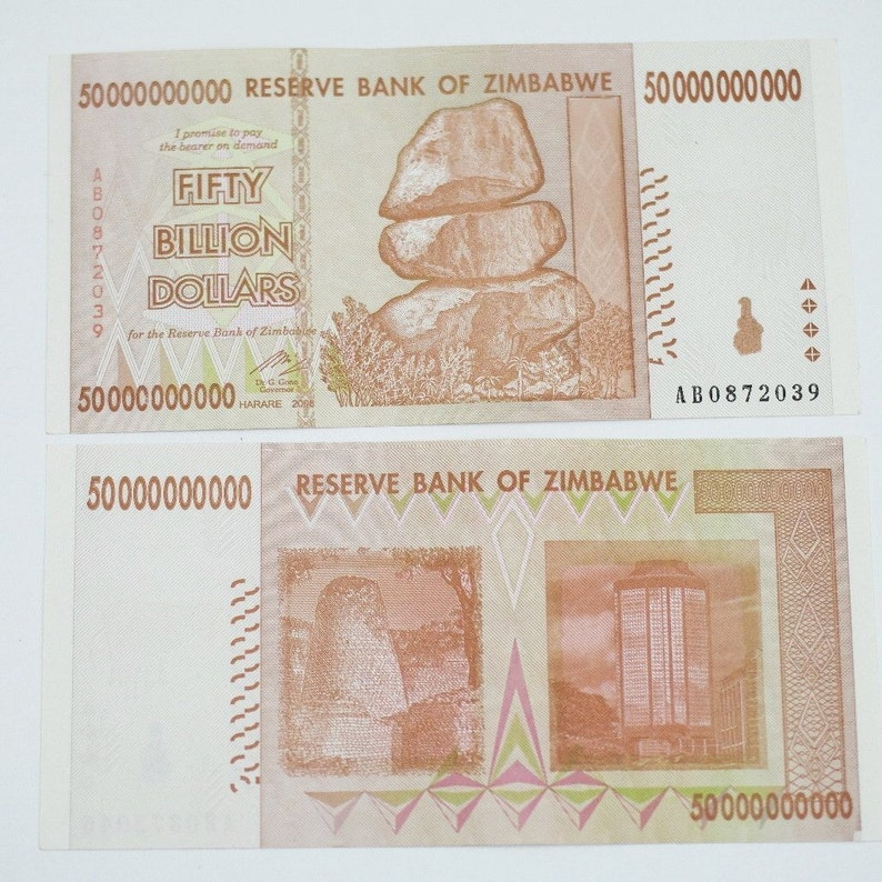 50 billions zimbabwe dollars note 50000000000 original
