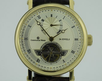 Automatic open heart wrist watch Constantin Weisz 34 jewels and brown leather strap