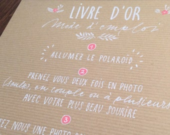 Guest book INSTRUCTIONS FOR PHOTOBOOTH, in kraft, personalized, calligraphed and decorated by hand. Format A4