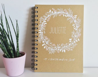 Personalized wedding or baptism guest book decorated with a country crown of olive, eucalyptus and berries