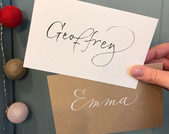 """Card """"Want to be my Witness?"""" for Marriage, in kraft or white paper, calligraphy in hand with first names of the witnesses on the back. Format A6"""