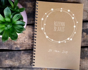 """Personalized kraft """"Stars"""" guest book, for a wedding, a birth or a baptism, calligraphed and decorated by hand"""