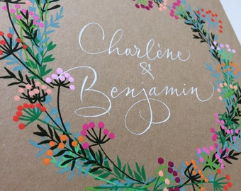 Personalized wedding guestbook for a boho-chic country wedding with calligraphed brides's names