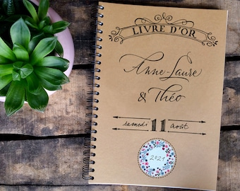 """Personalized wedding guestbook """"Blossom"""" with calligraphed brides's names"""