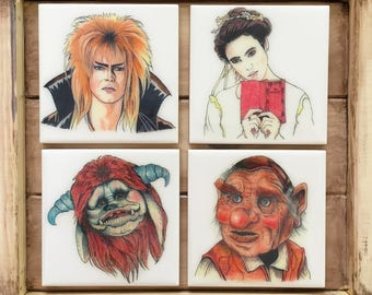 Labyrinth Hand-Illustrated Ceramic Coasters, set of 4