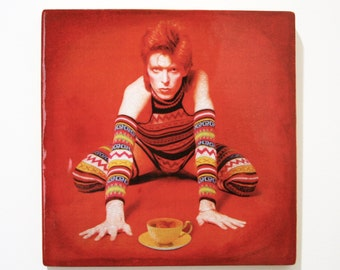"David Bowie / Ziggy Stardust with yellow tea cup, handmade 8""x8"" wooden wall art"
