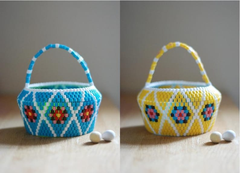 Swedish Beaded Basket // Scandinavian vintage folk accessories // Design  No 13 : Easter Candy (Turquoise) // Handmade in Scotland