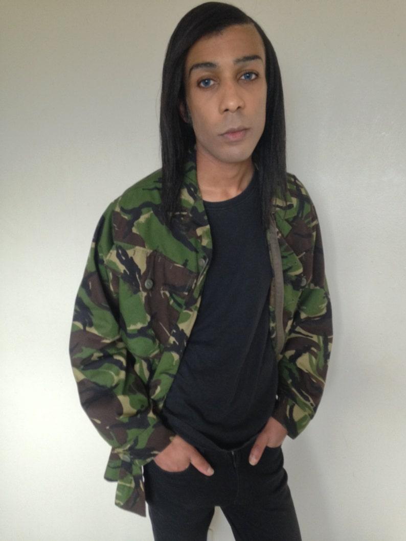 23ee2bb53 GRUNGE Camo militar camisa chaqueta VTG 90 S/M/L