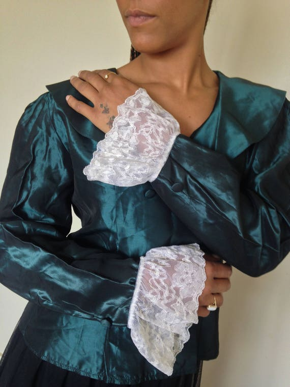 Vtg 80's GOTH ROMANTIC forest green taffeta antiqu