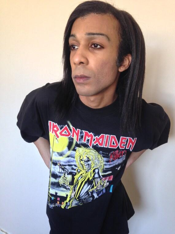 Vtg 80's IRON MAIDEN Killers black T-shirt XL - image 4