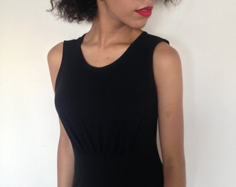 Vtg 90's Minimalist DKNY black midi dress S