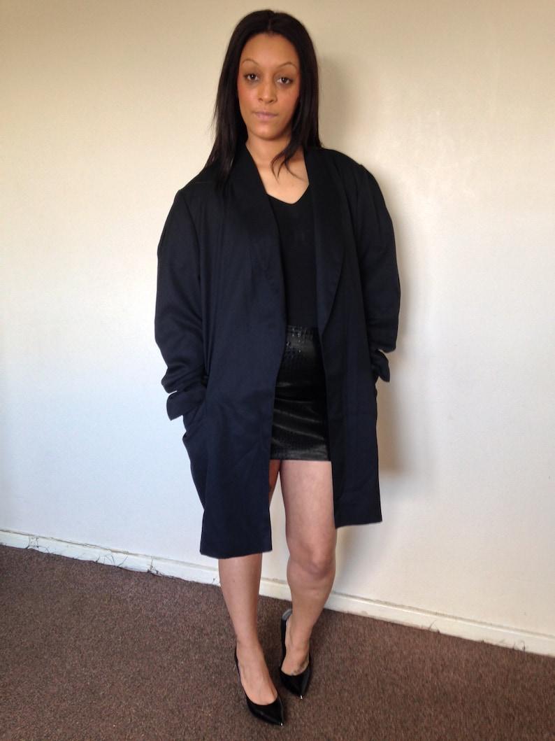 Vtg 90/'s MINIMALIST black oversized coat L
