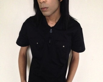Vtg 90's VERSACE Jeans Couture navy blue polo shirt XS