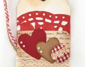 Vintage Valentine Gift Tag | Distressed Hearts Gift Tag | Valentine's Day Gift Tag